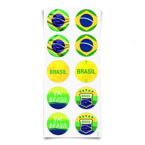 30 Adesivos Redondo Vai Brasil 10X23Cm Dec. Festas