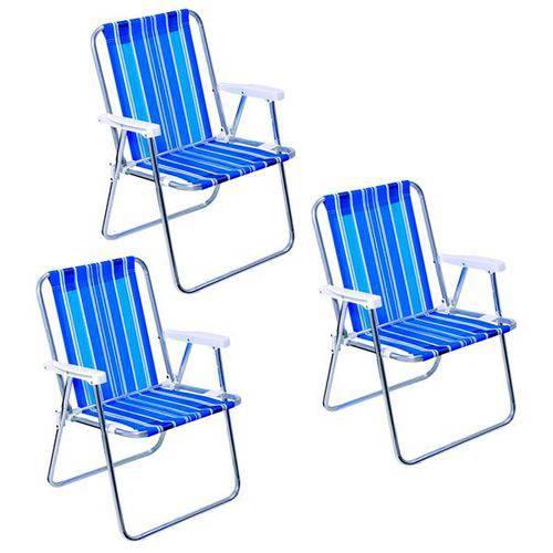 03 Cadeiras de Praia Alta Sortida em Aço Mor - 2002