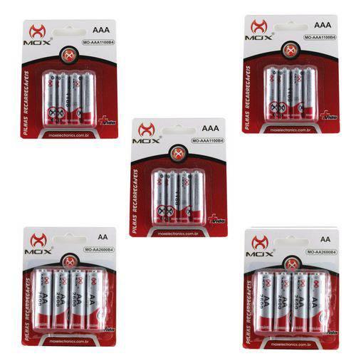 20 Pilhas Recarregável Mox Sendo 8 Pilhas AA + 12 Pilhas AAA