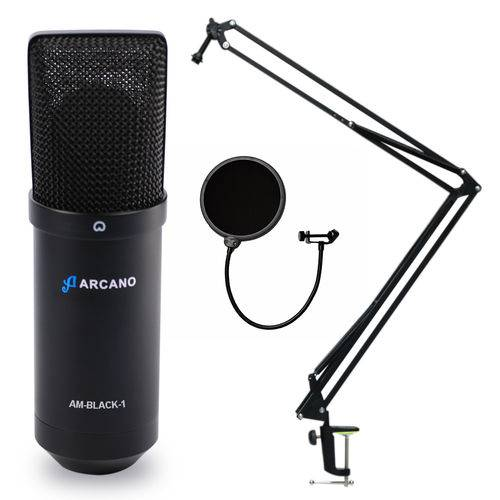 01 Mic Arcano Am-black-01 + 01 Pedestal Ss-02 + 01 Am-f1