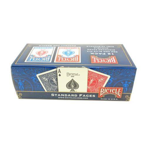 12 Bicycle Standard Playing Cards - Caixas Dúzia Lacrada 6 Azul e 6 Vermelhos