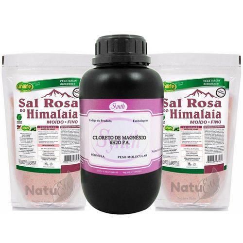 1 Cloreto de Magnésio Pa 1 Kg Synth + 2 Sal Rosa do Himalaia 1 Kg Unilife - Fino ou Grosso