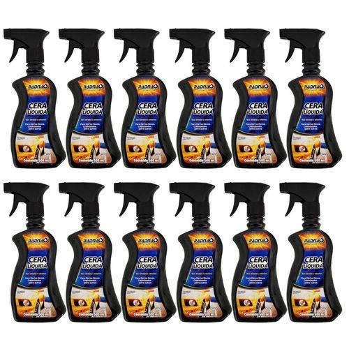 12 Frascos Cera Liquida Automotiva Spray 500ml Protetora
