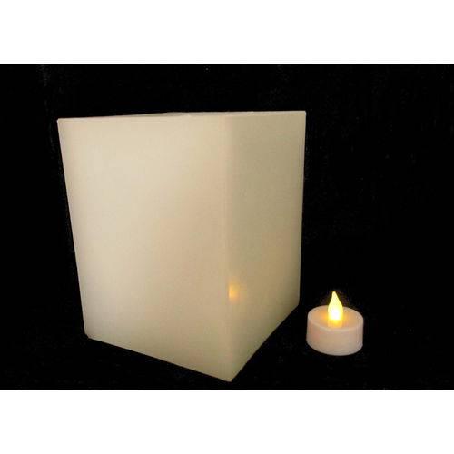 1 Luminárias 12x12x15cm + 1 Vela de LED Decoração Casamento