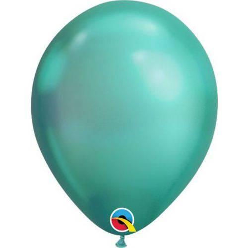 1 Pacote - Balão Chrome - Látex - Verde - 11 Pol. - 5 Uni. Qualatex