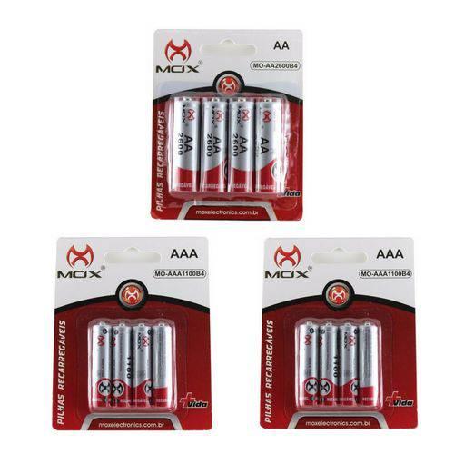 12 Pilhas Recarregável Mox Sendo 4 Pilhas Aa + 8 Pilha Aaa