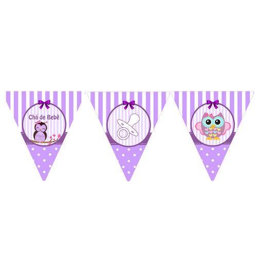 10 Bandeirolas Triangular Chá de Bebê Lilás
