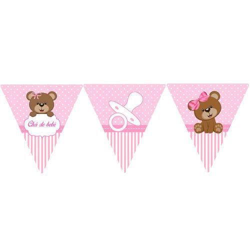 10 Bandeirolas Triangular Chá de Bebê Rosa