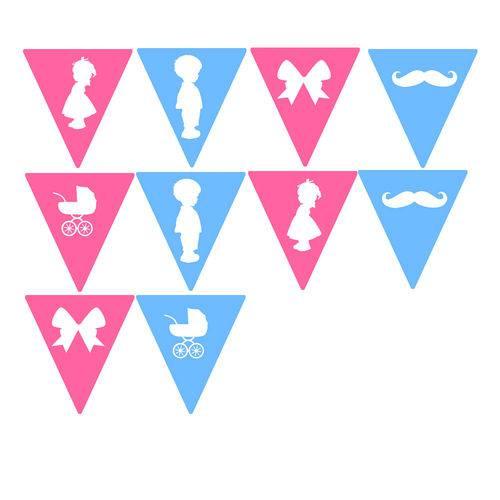 10 Bandeirolas Triangular Chá de Revelação