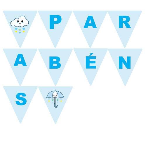 10 Bandeirolas Triangular Chuva de Amor Menino