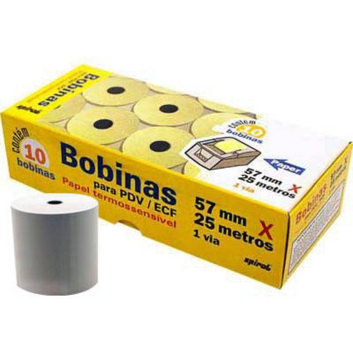 10 Bobinas para Cartão de Crédito/relógio de Ponto 57mmX25m Spiral