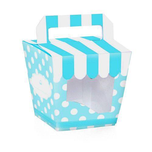 10 Caixas Cupcake Mini com Alca Listras/poa Azul Dec. Festas