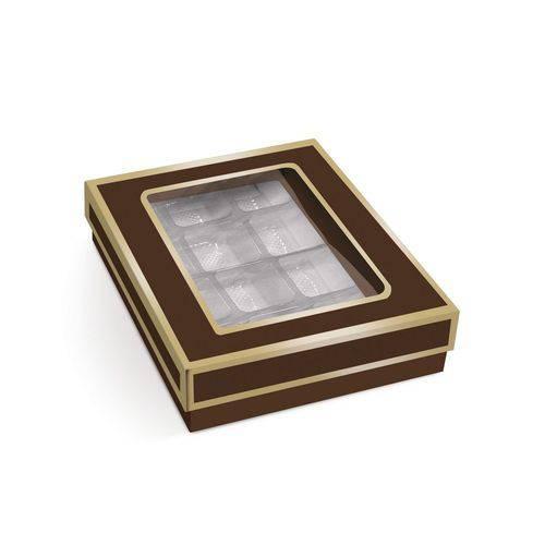 10 Caixas P/12 Bombons e Doces Marrom/ouro