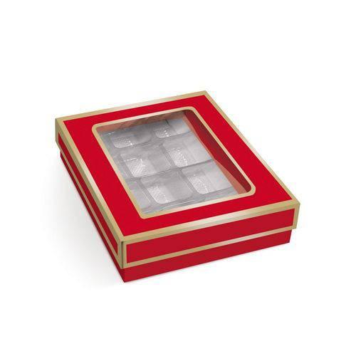 10 Caixas P/12 Bombons e Doces Vermelho/ouro
