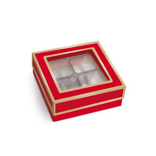 10 Caixas P/4 Bombons e Doces Vermelho/ouro
