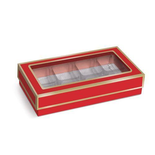 10 Caixas P/8 Bombons e Doces Vermelho/ouro