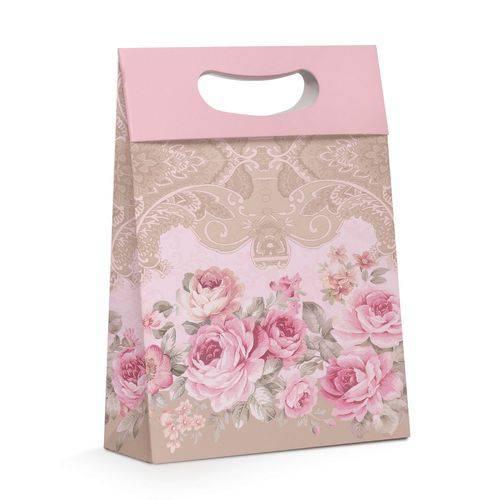 10 Caixas para Presente Floral Rosa P Festa