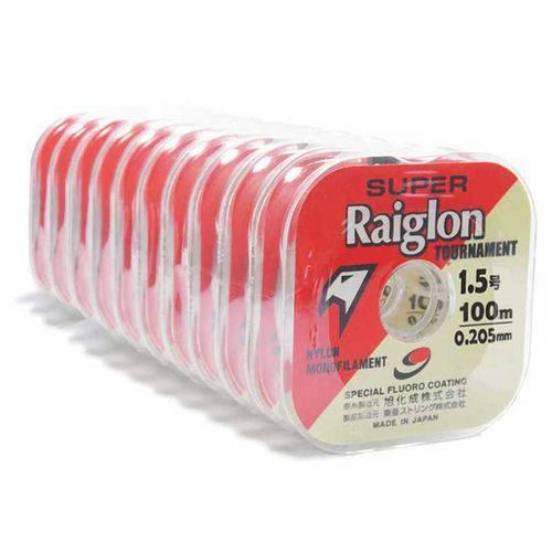 10 Carreteis Linha Mono Super Raiglon 0,20mm 10,9lb 100m