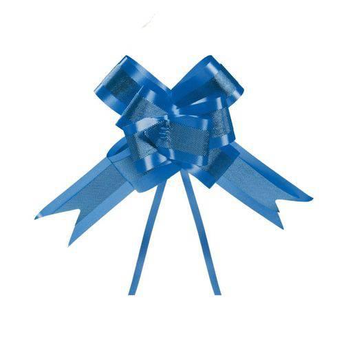 10 Laços Gravata Embalagem Presente Fita 30mm Duplo Azul