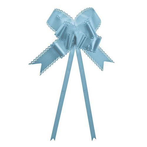 10 Laços Gravata Embalagem Presente Fita 23mm Azul Claro