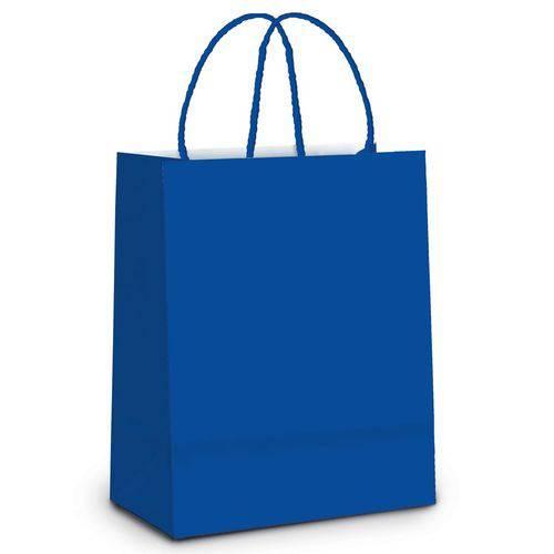 10 Sacolas Lembrancinhas Presentes Liso Azul M Festas