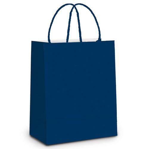 10 Sacolas Lembrancinhas Presentes Liso Azul G Festa