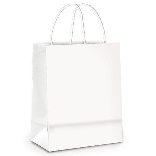 10 Sacolas Lembrancinhas Presentes Liso Branco Grande Festa