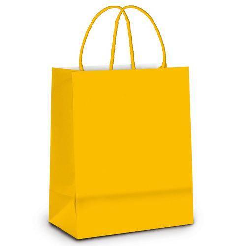 10 Sacolas para Presente Liso Amarelo Pqn Festa
