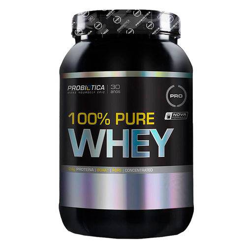 100% Pure Whey Pote 900 G Morango - Morango