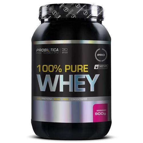 100% Pure Whey Protein Probiótica Morango Pote 900g