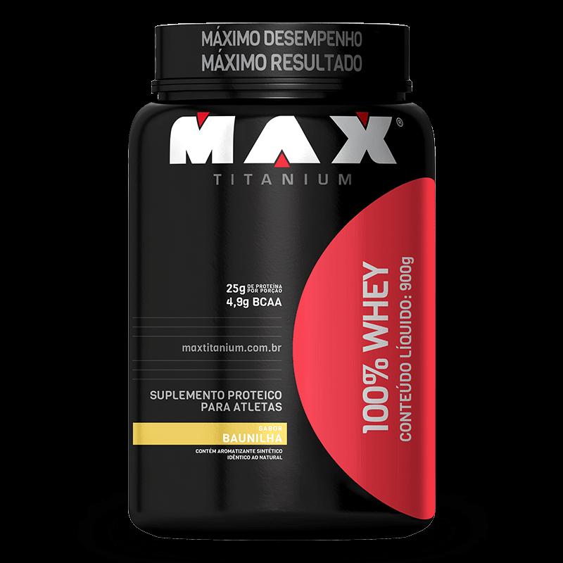 100% Whey Protein (900g) Max Titanium-Baunilha