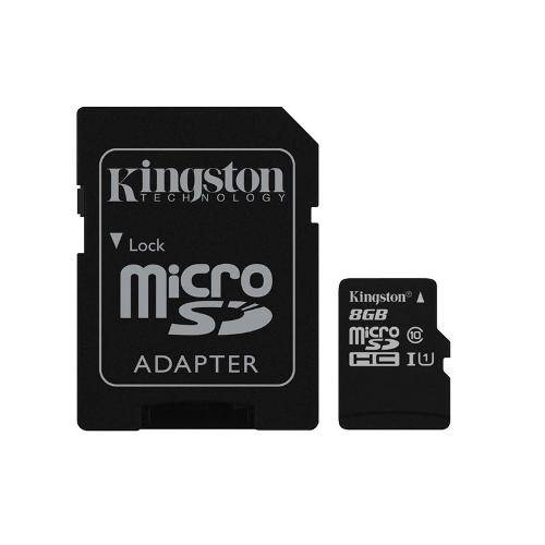 21086 Cartao de Memoria Kingston 8gb Micro Sdhc Classe 10 + Adapt Sd Uhs-I 45mb - Sdc10g2/8gb