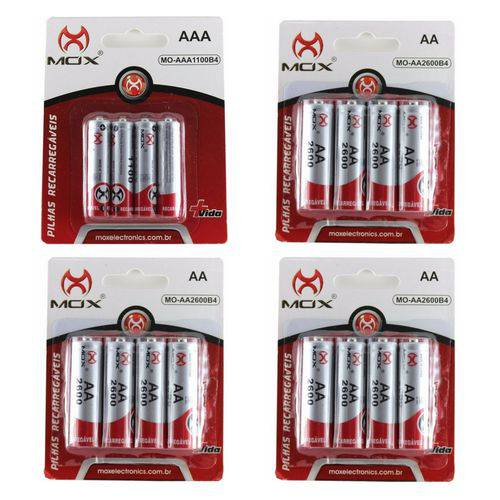 16 Pilhas Recarregável Mox Sendo 12 Pilhas AA + 4 Pilhas AAA