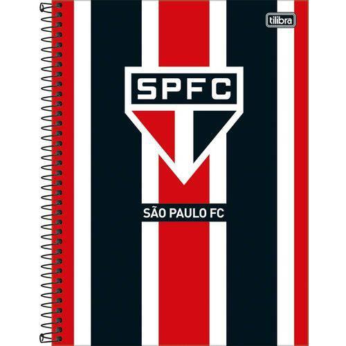 4 Cadernos Espiral Capa Dura Universitário 10 Matérias Clube de Futebol São Paulo - 160 Folhas
