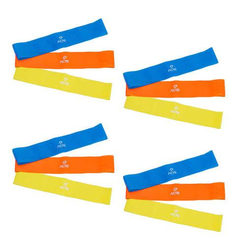 4 Kits Elásticos Mini Bands com 3 Intensidades Acte Sports T71