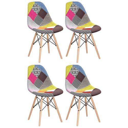 4 X Cadeiras Eames DSW - Patchwork - Madeira Clara
