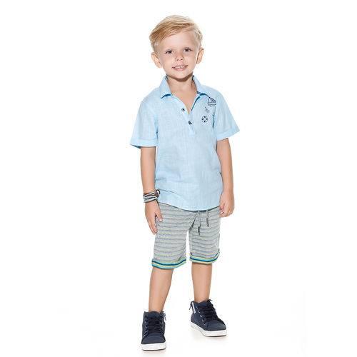 4925 V18 Conjunto Planet Kids Camisa/short Higth Sea Azul/mescla