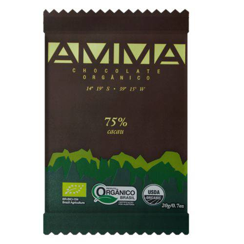 5 Chocolates Orgânicos Amma 75% Cacau 20g