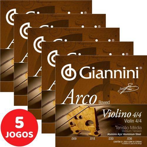 5 Encordoamento Giannini Arco para Violino 4/4 Tensão Média GEAVVA