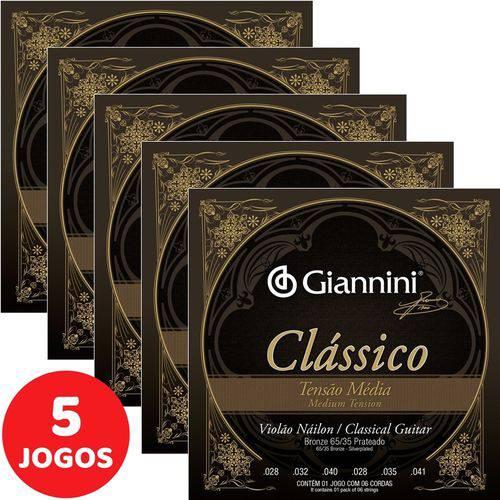 5 Encordoamento Giannini Clássico P/ Violão Nylon Tensão Média GENWPM