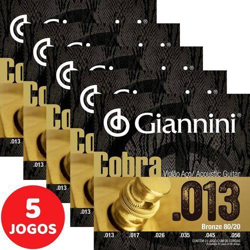 5 Encordoamento Giannini Cobra Violão Aço 013 056 CA82M Bronze 80/20