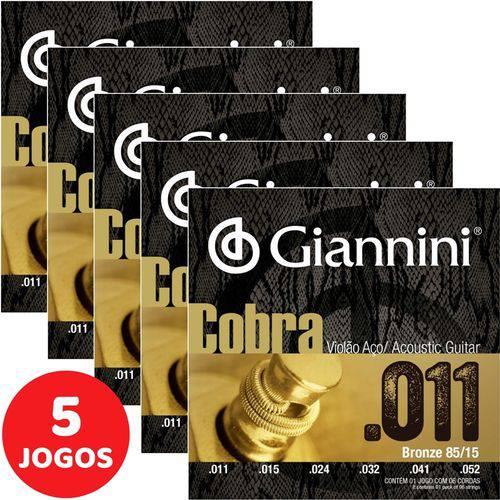 5 Encordoamento Giannini Cobra Violão Aço 011 052 GEEFLK Bronze 85/15