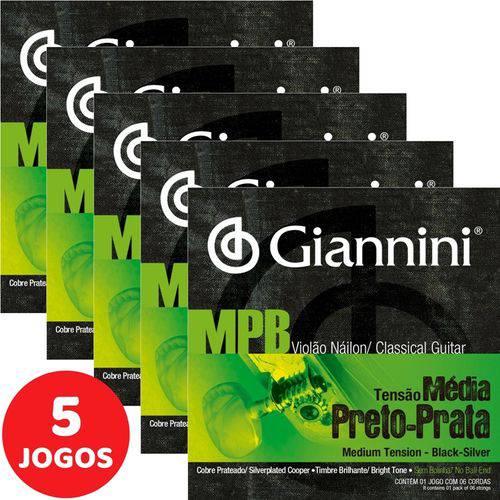 5 Encordoamento Giannini MPB Violão Nylon Tensão Média GENWBS Preto-Prata