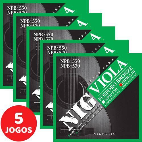 5 Encordoamento Nig P/ Viola Caipira Cebolão Ré NPB570 Fósforo Bronze