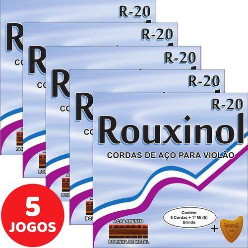 5 Encordoamento Rouxinol P/ Violão Aço 011 R20 com Bolinha