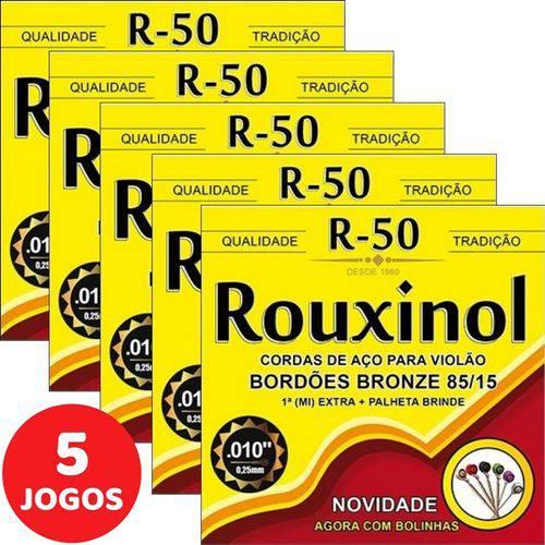 5 Encordoamento Rouxinol P/ Violão Aço 011 R50 com Bolinha