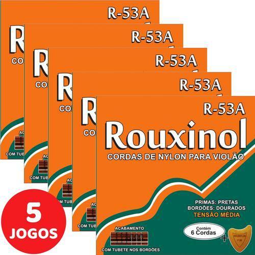 5 Encordoamento Rouxinol P/ Violão Nylon Clássico Tensão Média R53A