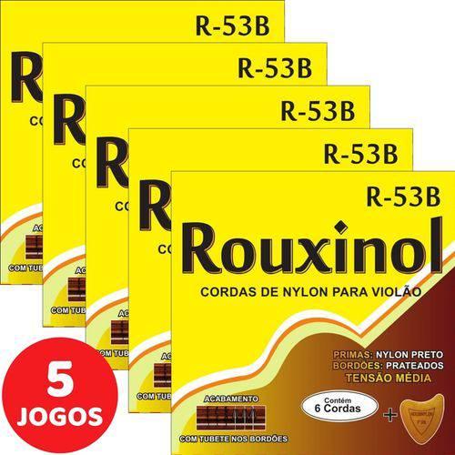 5 Encordoamento Rouxinol P/ Violão Nylon Clássico Tensão Média R53B