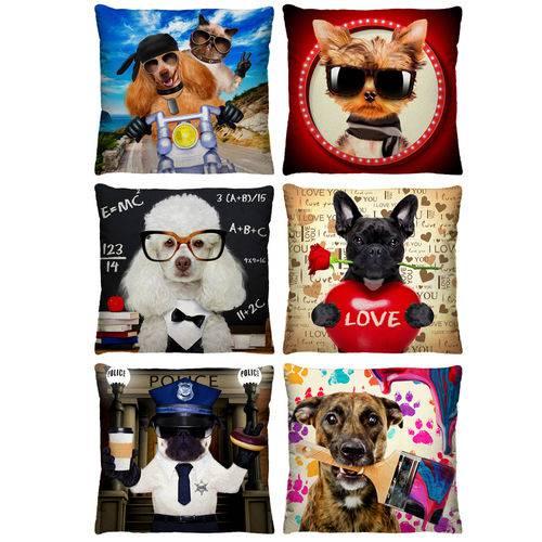 6 Capas de Almofada Decorativa Cachorros 40cm Xv