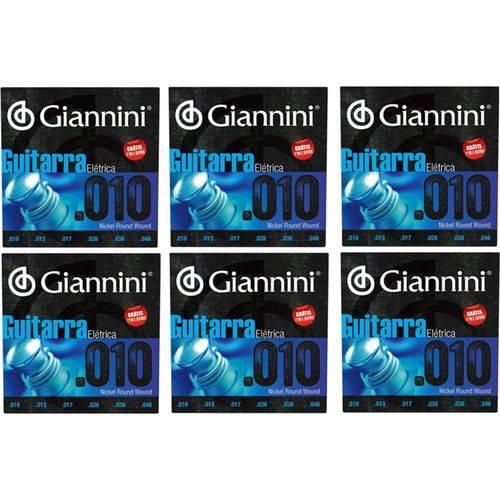 6 Encordoamento Guitarra 010 Giannini Geegst .10